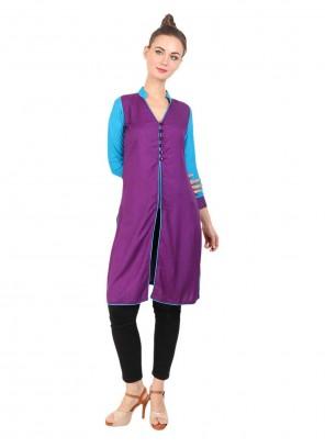 Purple Fancy Rayon Party Wear Kurti