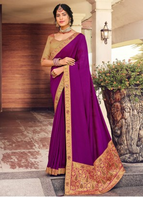 Purple Fancy Vichitra Silk Designer Traditional Saree