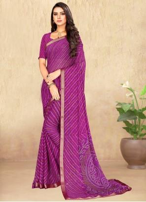 Purple Faux Chiffon Saree