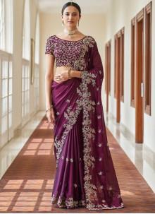Purple Faux Crepe Resham Designer Traditional Saree
