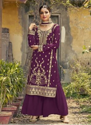 Purple Faux Georgette Ceremonial Designer Palazzo Salwar Kameez