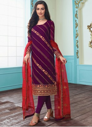 Purple Faux Georgette Churidar Salwar Kameez