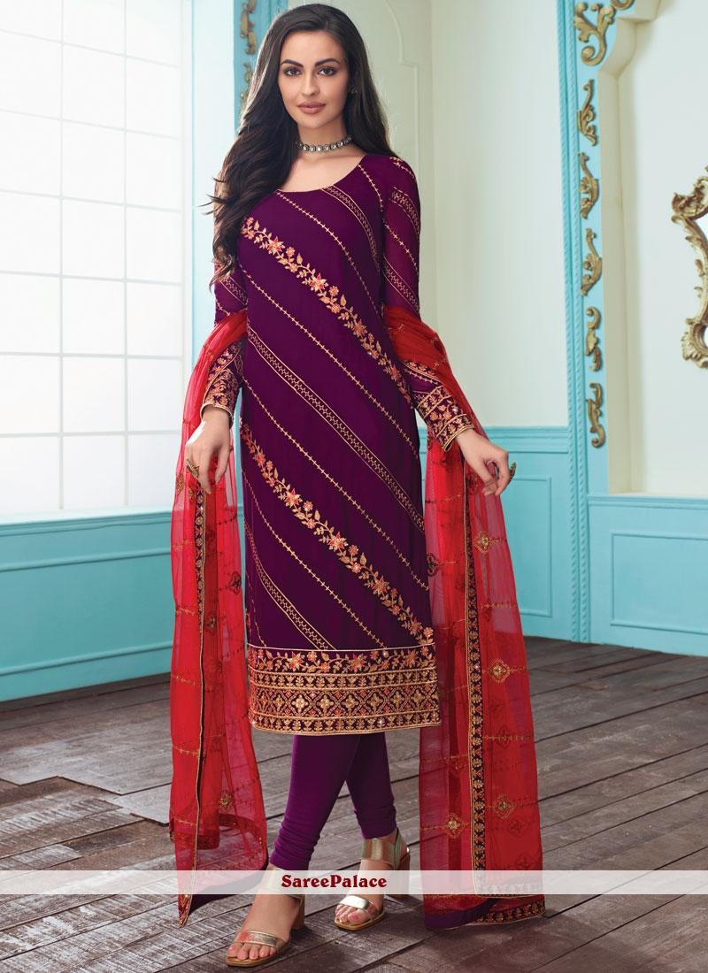 Purple Faux Georgette Churidar Salwar Kameez