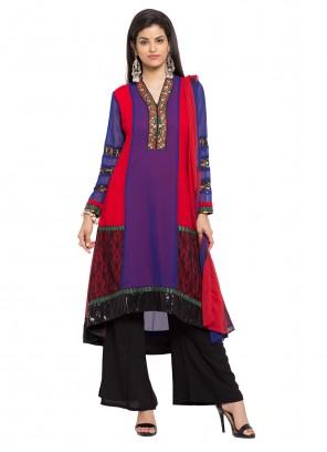 Purple Faux Georgette Readymade Salwar Kameez