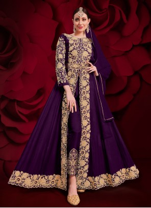 Purple Faux Georgette Zari Designer Floor Length Salwar Suit