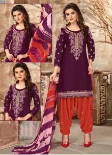 Purple Festival Cotton Designer Patiala Suit