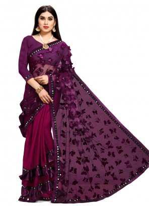 Purple Festival Designer Half N Half Saree