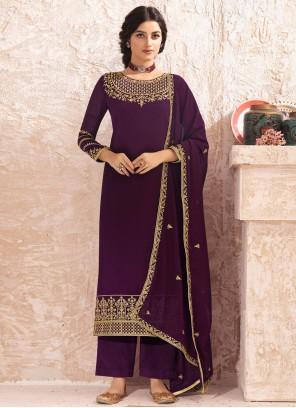 Purple Festival Faux Georgette Designer Pakistani Salwar Suit