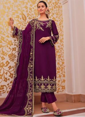 Purple Festival Georgette Salwar Suit