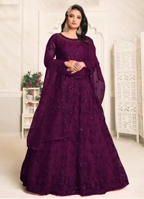 Purple Festival Net Designer Floor Length Salwar Suit