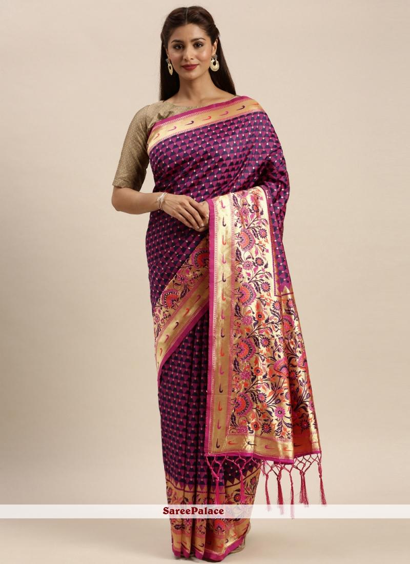 Purple Festival Silk Traditional Saree