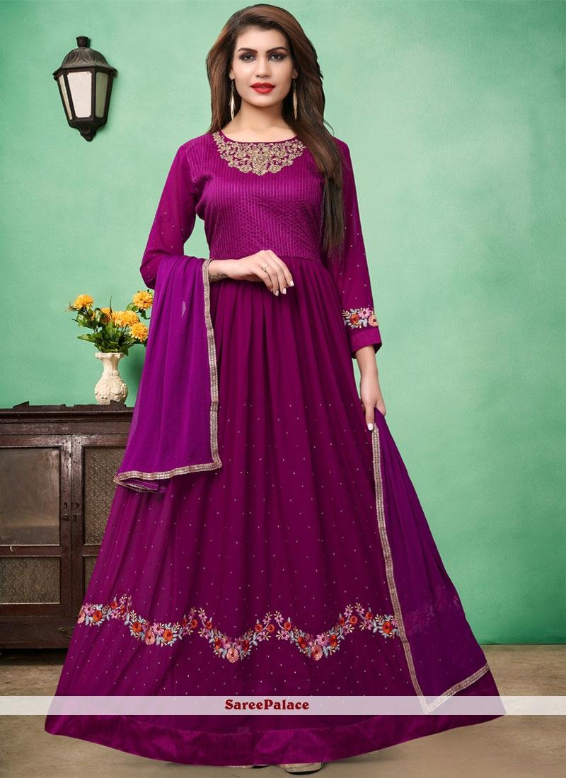Purple Floor Length Anarkali Suit