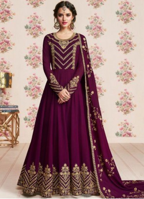 Purple Georgette Anarkali Salwar Suit