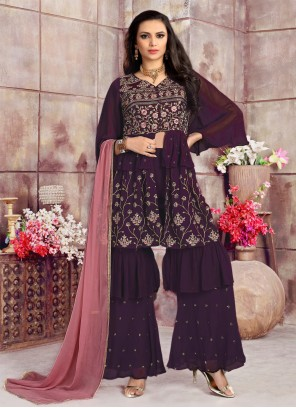 Purple Georgette Engagement Readymade Suit