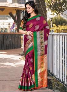 Purple Handloom silk Trendy Saree
