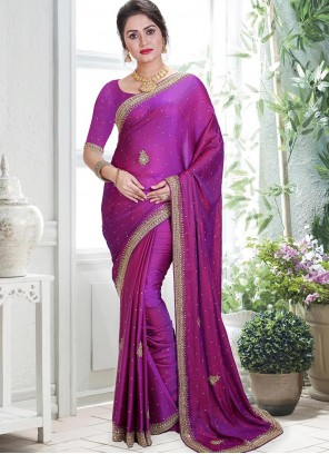 Purple Handwork Art Silk Designer Saree