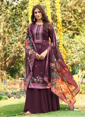 Purple Handwork Designer Palazzo Salwar Kameez