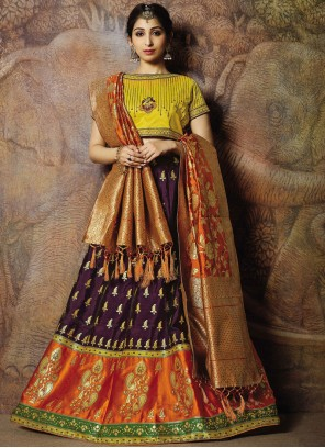 Purple Jacquard Silk Designer Lehenga Choli