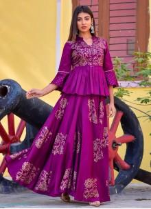 Purple Jamawar Silk Designer Kurti