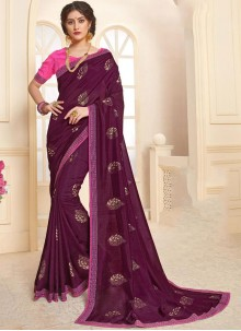 Purple Mehndi Art Silk Trendy Saree