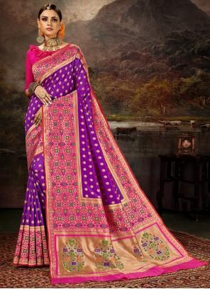 Purple Mehndi Banarasi Silk Saree