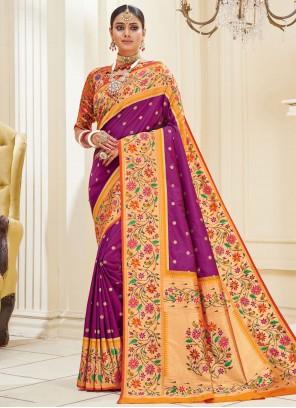 Purple Mehndi Traditional Designer Saree