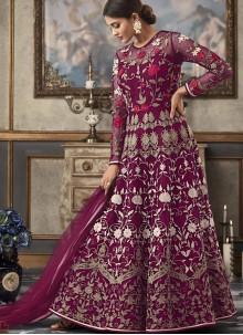 Purple Net Ceremonial Floor Length Anarkali Suit