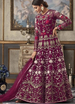 Purple Net Ceremonial Floor Length Anarkali Suit