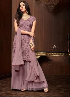 Purple Net Designer Palazzo Salwar Kameez