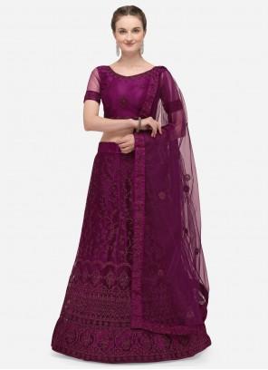 Purple Net Embroidered A Line Lehenga Choli