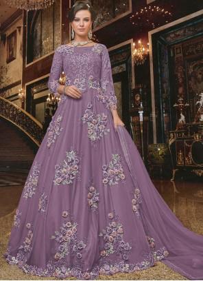 Purple Net Embroidered Desinger Anarkali Salwar Suit