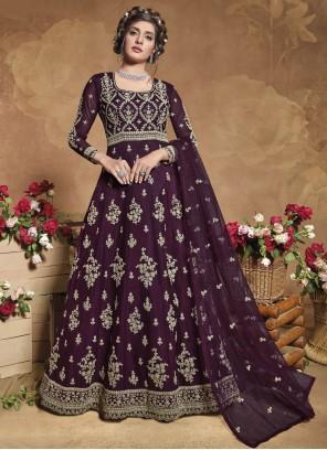 Purple Net Floor Length Anarkali Suit