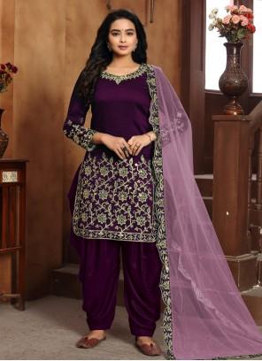 Purple Party Art Silk Designer Patiala Suit
