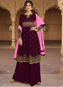 Purple Party Designer Palazzo Salwar Kameez