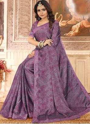 Purple Party Georgette Classic Saree