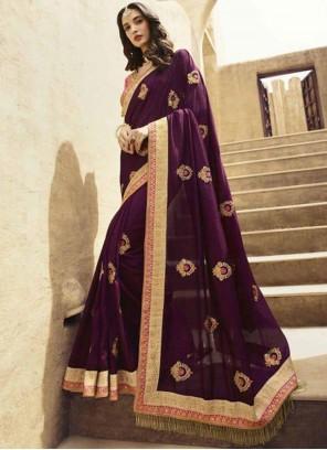 Purple Patch Border Art Silk Designer Traditional Saree