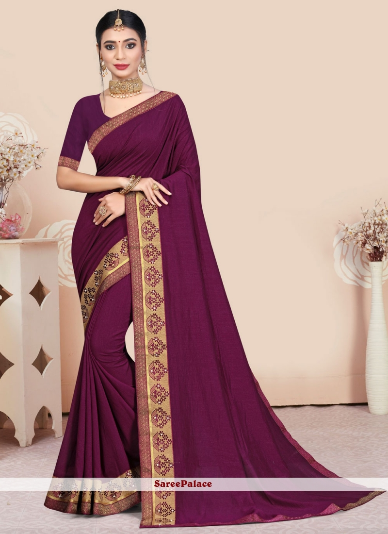 Purple Patch Border Party Traditional Saree