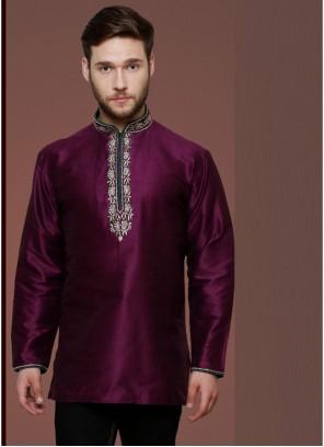 Purple Plain Art Dupion Silk Kurta Pyjama