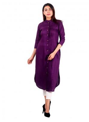 Purple Plain Rayon Casual Kurti