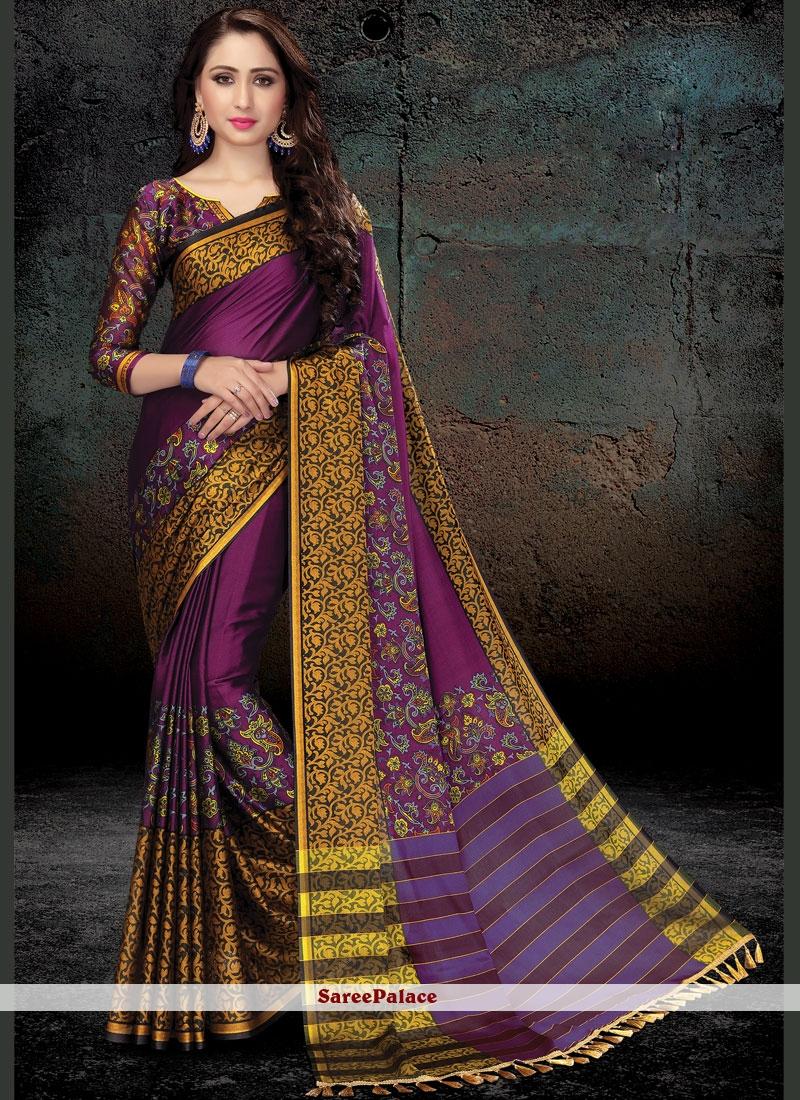 Purple Print Work Handloom silk Traditional  Saree