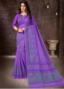 Purple Printed Casual Saree