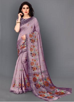 Purple Printed Festival Designer Saree
