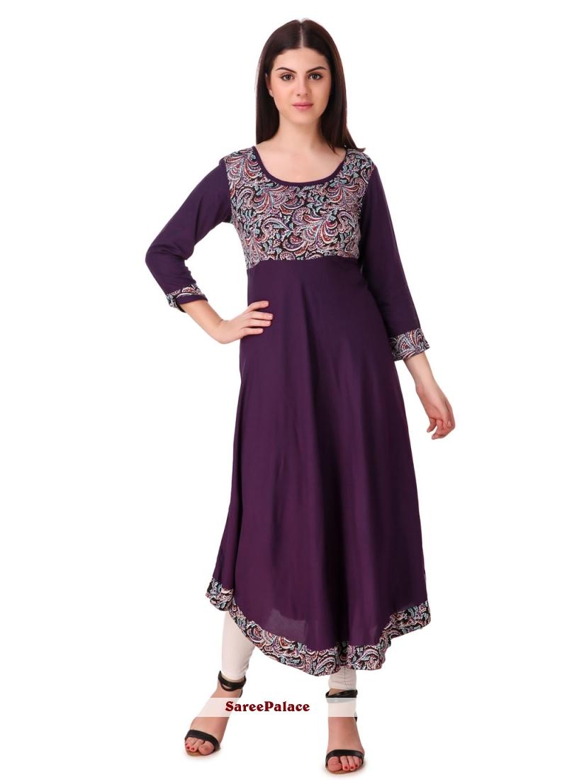 Purple Rayon Designer Kurti