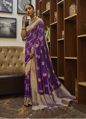Purple Reception Designer Traditional Saree