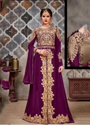 Purple Reception Faux Georgette Trendy Salwar Suit