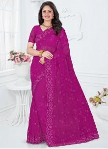 Purple Resham Reception Designer Saree