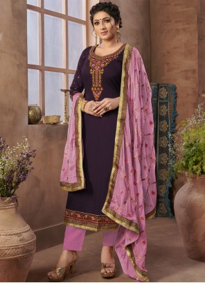 Purple Resham Satin Pant Style Suit