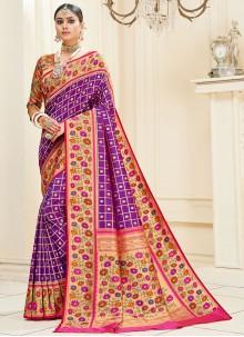 Purple Sangeet Banarasi Silk Designer Traditional Saree