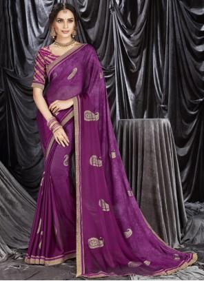 Purple Sangeet Faux Georgette Classic Designer Saree
