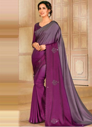Purple Satin Silk Ceremonial Shaded Saree